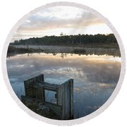 Reservoir Reflections Round Beach Towel