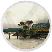 Resort In Bar Harbor Round Beach Towel