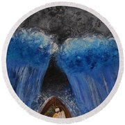 Round Beach Towel featuring the painting Rest In Him by Cassie Sears