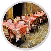 Restaurant Patio In France Round Beach Towel