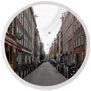 Restaurants In A Street, Amsterdam Round Beach Towel