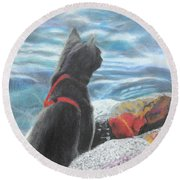 Round Beach Towel featuring the painting Resting By The Shore by Jeanne Fischer