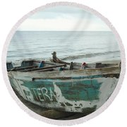 Resting Fishing Boat Round Beach Towel