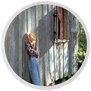 Round Beach Towel featuring the photograph Resting by Gordon Elwell