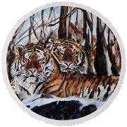 Round Beach Towel featuring the painting Resting by Harsh Malik