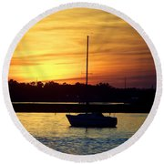 Round Beach Towel featuring the photograph Resting In A Mango Sunset by Sandi OReilly