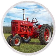 Restored Farmall Tractor Round Beach Towel by Charles Beeler