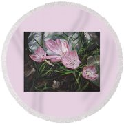 Round Beach Towel featuring the painting Resurrection Lilies by Jane Autry