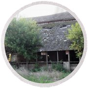 Round Beach Towel featuring the photograph Retired Barn by Bonfire Photography