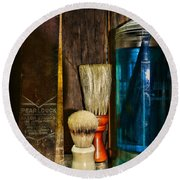 Retro Barber Tools Round Beach Towel by Paul Ward