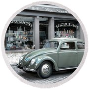 Retro Beetle Round Beach Towel