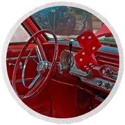 Retro Chevy Car Interior Art Prints Round Beach Towel