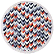 Retro Geometric Round Beach Towel
