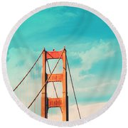 Retro Golden Gate - San Francisco Round Beach Towel by Melanie Alexandra Price