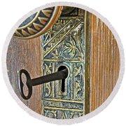 Retro Intricate Door Knob And Metal Key Art Prints Round Beach Towel