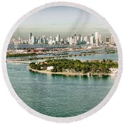 Retro Style Miami Skyline And Biscayne Bay Round Beach Towel