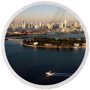 Retro Style Miami Skyline Sunrise And Biscayne Bay Round Beach Towel