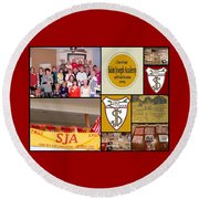 S J A Reunion Collage Grid Round Beach Towel