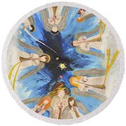 Round Beach Towel featuring the painting Revelation 8-11 by Cassie Sears