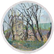 Reverend Hawkers Church At Morwenstow II Oil On Canvas Round Beach Towel