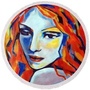Round Beach Towel featuring the painting Reverie by Helena Wierzbicki