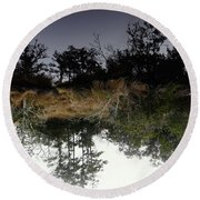 Reverse Reflection On A Crab Fishermans Canal Round Beach Towel