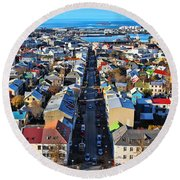 Reykjavik Cityscape Panorama Round Beach Towel