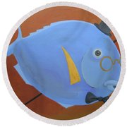 Round Beach Towel featuring the painting Rhapsody In Blue by Marina Gnetetsky
