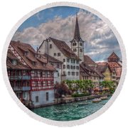 Round Beach Towel featuring the photograph Rhine Bank by Hanny Heim