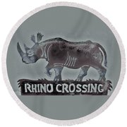 Rhino Xiv Round Beach Towel by Larry Campbell