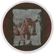 Rhinoceros Round Beach Towel
