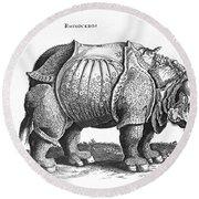 Rhinoceros No 76 From Historia Animalium By Conrad Gesner  Round Beach Towel