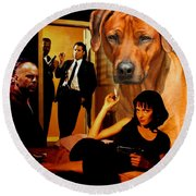 Rhodesian Ridgeback Art Canvas Print - Pulp Fiction Movie Poster Round Beach Towel