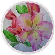Rhodie With Dew I Round Beach Towel