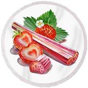 Rhubarb Strawberry Round Beach Towel by Irina Sztukowski