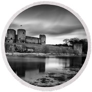 Rhuddlan Castle Round Beach Towel by Dave Bowman