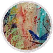 Round Beach Towel featuring the painting Rhythm And Blues by Robin Maria Pedrero