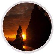 Rialto Beach Sunset Percusion Round Beach Towel by Mark Kiver