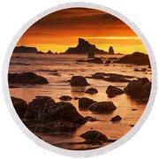 Rialto Beach Sunset Symphony Round Beach Towel by Mark Kiver