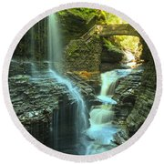 Rainbow Falls Watkins Glen Round Beach Towel by Adam Jewell