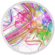 Ribbons And Curls White - Abstract - Fractal Round Beach Towel