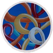Ribbons In The Sky Round Beach Towel