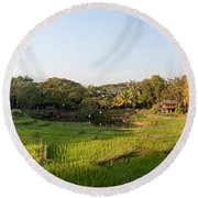 Rice Fields In Front Of Villas, Four Round Beach Towel