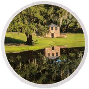 Rice Mill  Pond Reflection Round Beach Towel