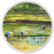 The Rice Paddy Field Round Beach Towel by Carol Wisniewski