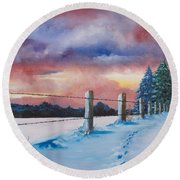 Rich Wintertide Round Beach Towel