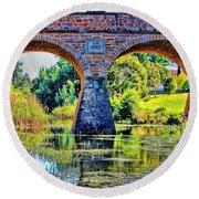 Round Beach Towel featuring the photograph Richmond Bridge by Wallaroo Images