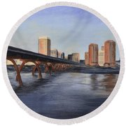 Richmond Virginia Skyline Round Beach Towel by Donna Tuten