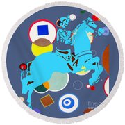 Round Beach Towel featuring the mixed media Ride Em Cowboy by Beth Saffer