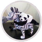 Round Beach Towel featuring the photograph Riding A Zebra.traveling Pandas Series by Ausra Huntington nee Paulauskaite